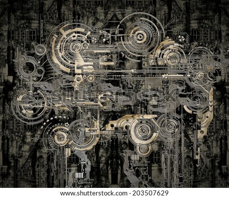A Technically electronic background with device objects - stock photo