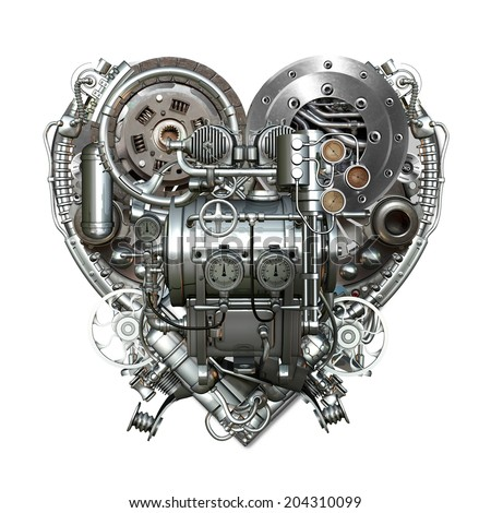 A technically mechanical heart at hard work - stock photo