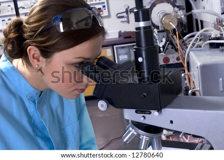 A technician at work in the laboratory - stock photo