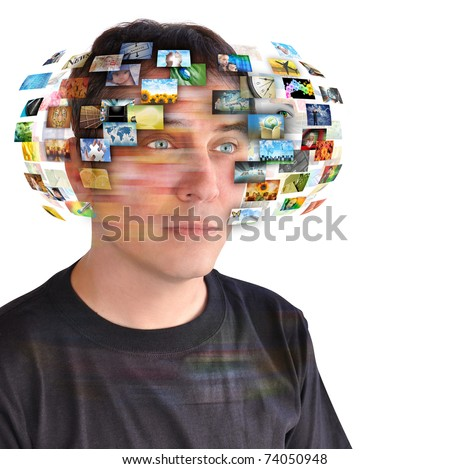 A technology man has images around his head. Use it for a communication or tv concept. - stock photo