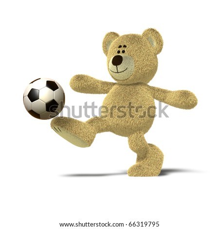 A teddy bear is kicking a soccer ball up into the air with his right leg. The image is isolated on a white background with soft shadows. - stock photo