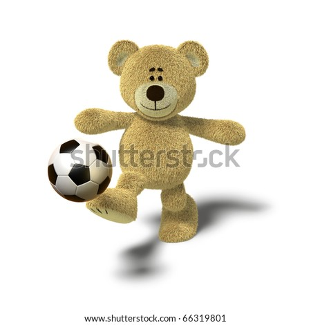 A teddy bear is kicking a soccer ball up into the air with his right leg. Viewed from the front, side views also available. The image is isolated on a white background with soft shadows. - stock photo