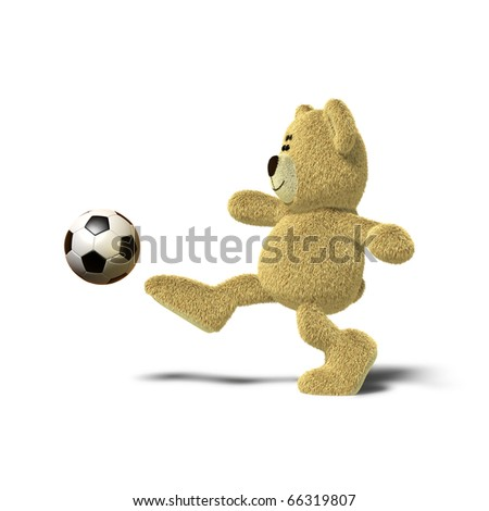 A teddy bear is kicking a soccer ball up into the air with his right leg. Viewed from the side, front views also available. The image is isolated on a white background with soft shadows. - stock photo