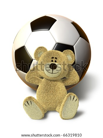 A teddy bear sits on the ground and relaxes. He leans his back against a huge soccer ball, smiles and folds his arms behind his head. This images is isolated on a white background with soft shadow. - stock photo