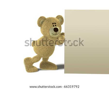 A teddy bear smiles while he pushes a big solid wall with his hands. This image is isolated on a white background with soft shadows. - stock photo