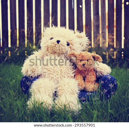 a teddy bear with his arm around a dog showing companionship and love toned with a retro vintage instagram filter app or action effect - stock photo