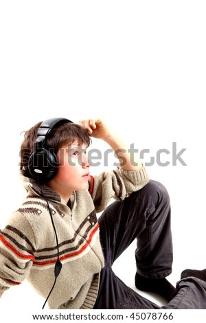 A teen boy and music