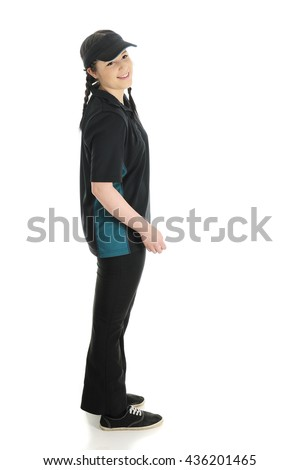 A teen fast-food worker looking to her right as if to ask a customer if she can help?  On a white background.