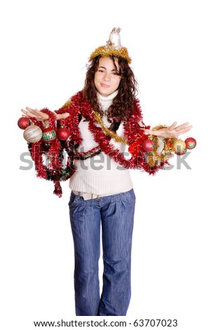 A teen model with christmas tree decorations