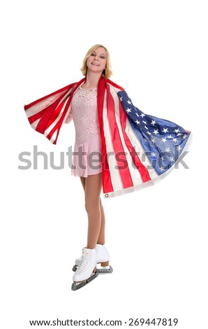 A Teenage Figure Skater Wrapped in the American Flag - stock photo