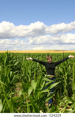 A teenage girl in a cornfield with a golden wheatfield in the middle and blue skies above. - stock photo