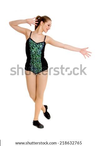 A Teenage Girl Tap Dance Student - stock photo