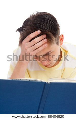 A teenage student reading and studying for exams.  White background.