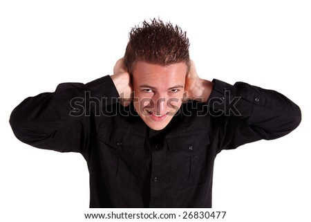 A teenager got a tinnitus. All isolated on white background - stock photo