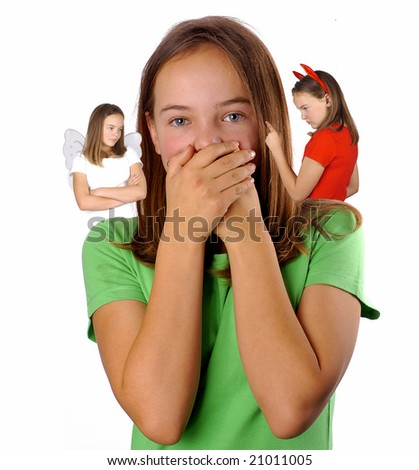 A teenager struggling between good and evil - stock photo