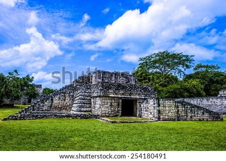 A temple at Ek balam Mexico - stock photo
