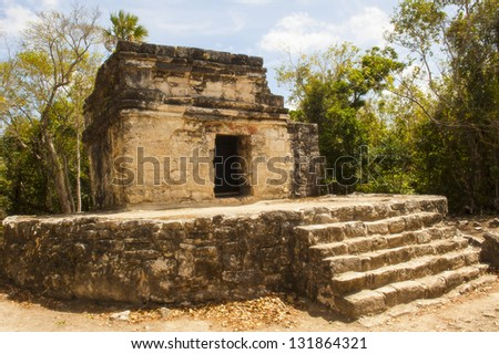 A temple at San Gervasio in Cozumel - stock photo