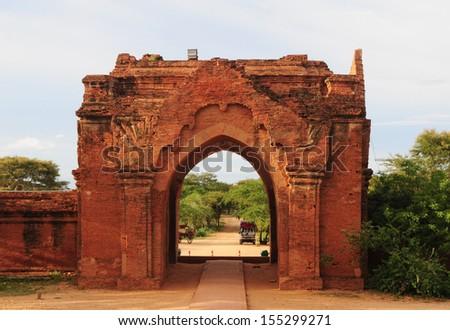 A temple gate in Bagan, Myanmar - stock photo