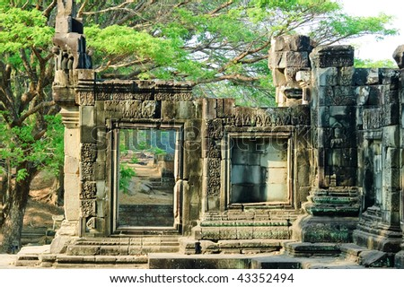 A temple in the central Angkor thom,Siem Reap,Cambodia - stock photo