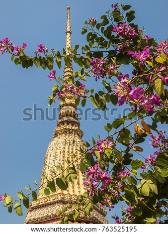 A temple stupa rises behind branches of purple flowers under a blue sky at a temple in Thailand