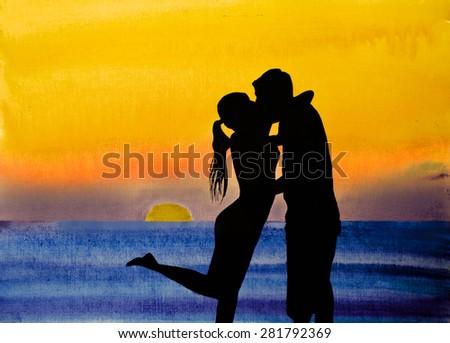 a tender kiss at sunset - stock photo