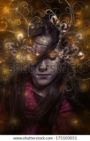 A tender portrait of a dreamy girl with eyes closed,  fantasy concept - stock photo