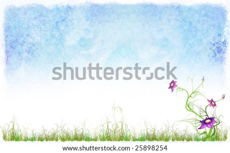 A tender spring background representing  sky, grass and flowers, much place for inscriptions - stock photo