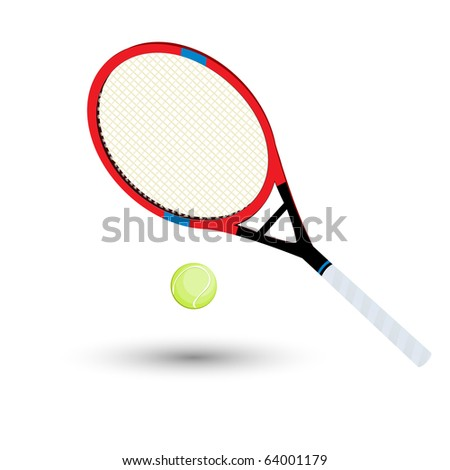 A tennis racket and ball over white background