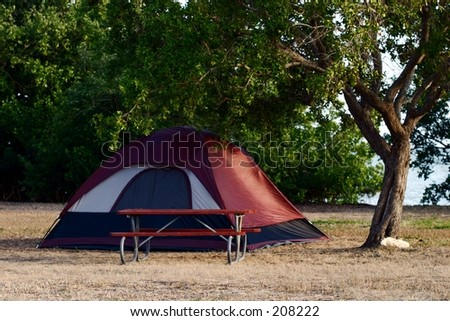 A tent campsite in the Florida everglades. - stock photo