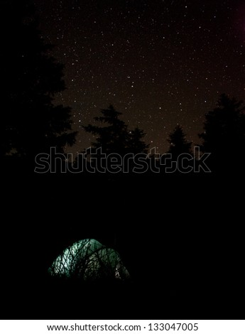 a tent in the forest at night, lighted with flash-light - stock photo