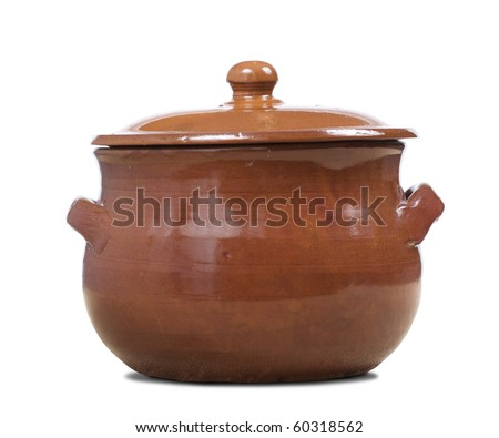 a terracotta pot  for slow cooking, isolated, clipping path