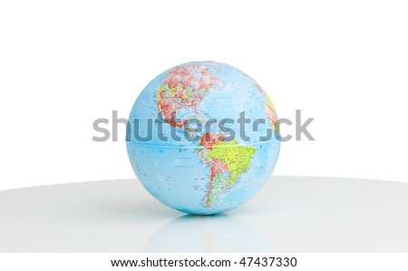 A terrestrial globe against a white background - stock photo