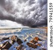 A terrible storm and lightning over the raging surf. Mediterranean Sea, Israel - stock photo
