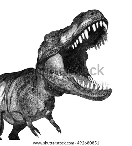 A terrifying t-rex dinosaur - 3d render, special shaders were used to create the appearance of a pencil drawing.