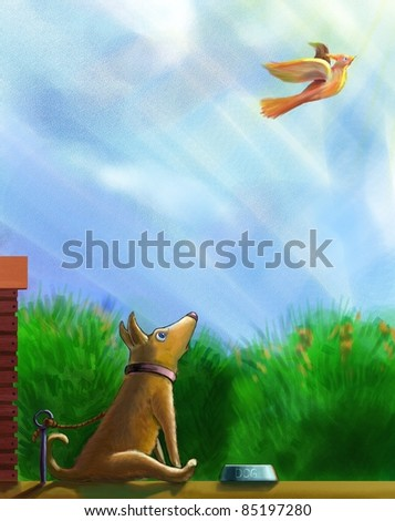 A tethered dog sitting before a bowl of food and looking at a flying bird. - stock photo