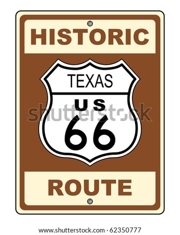 A Texas Historic Route US 66 Sign Illustration