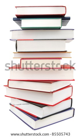 A textbook tower isolated white