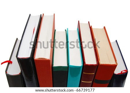 a textbooks stacking in row - stock photo