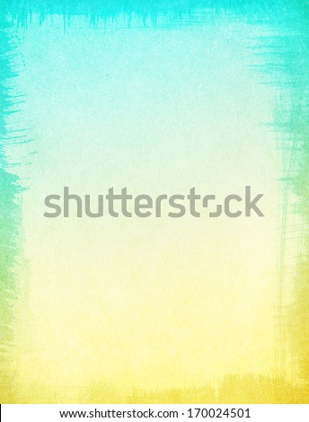 A textured paper background with a subtle yellow to turquoise blue gradient.  Image displays a ragged edge border, and a distinct grain pattern at 100 percent. - stock photo