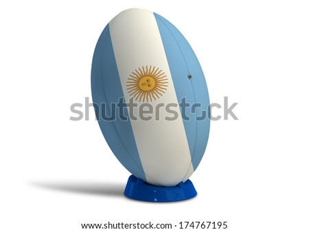 A textured rugby ball in the colors of the argentina national flag on a kicking tee on a isolated white background - stock photo