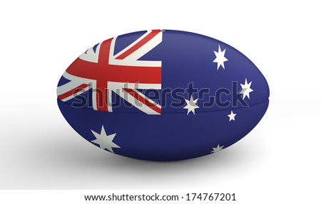 A textured rugby ball in the colors of the australian national flag on an isolated white background - stock photo