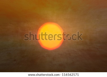 A textured, vintage paper background with a yellow sun to subtle green toned - stock photo