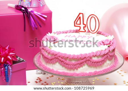A 40th birthday cake to celebrate someones special day. - stock photo