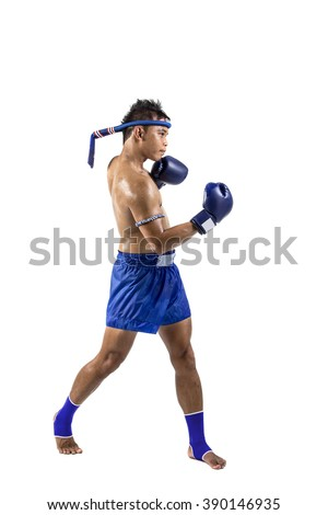 a thai boxer with thai boxing action, isolated on white background - stock photo