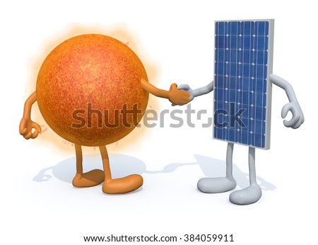 a the sun and the solar panel with arms and legs shake hands, 3d illustration - stock photo