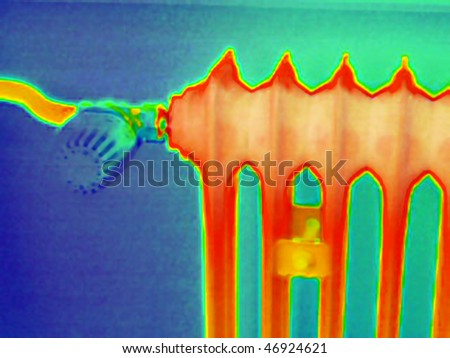 A thermography or thermal image of a radiator in a household - stock photo