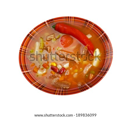 A thick and hearty spicy Mexican soup. (like chili con carne) - stock photo