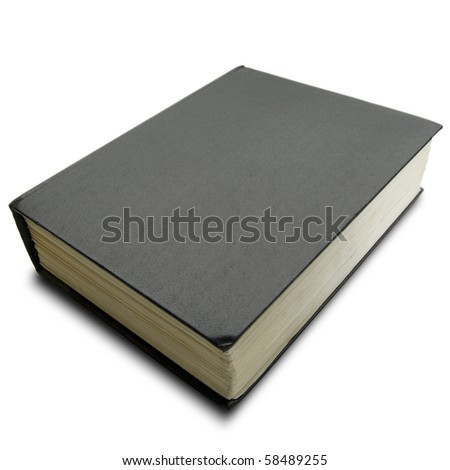 a thick hard cover black book on white - with clipping path - stock photo