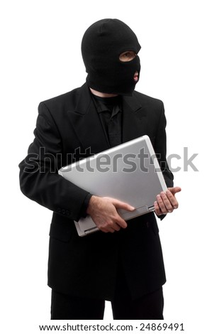 A thief wearing a suit is stealing a laptop, isolated against a white background