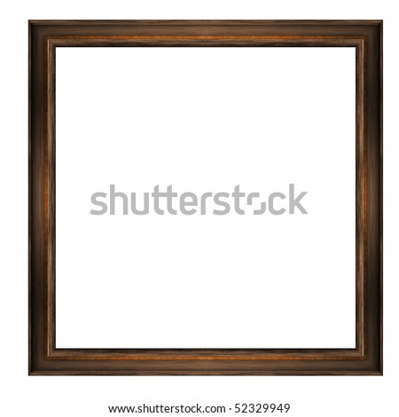 A thin, wooden frame with amber inserts, isolated on a white background